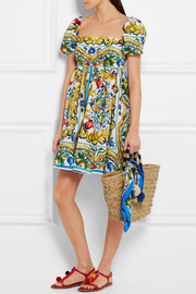 Dolce & Gabbana Printed cotton-poplin mini dress