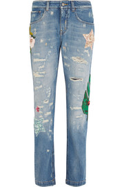 Appliquéd high-rise boyfriend jeans