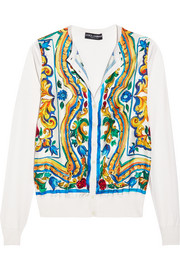 Printed silk cardigan