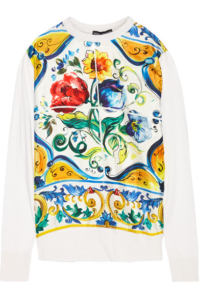 Dolce & Gabbana - Paneled Printed Silk Sweater - Yellow