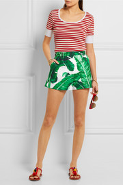 Printed cotton and silk-blend brocade shorts