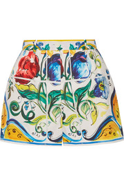 Printed cotton-poplin shorts