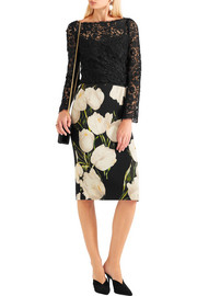 Dolce & Gabbana Floral-print wool-crepe pencil skirt
