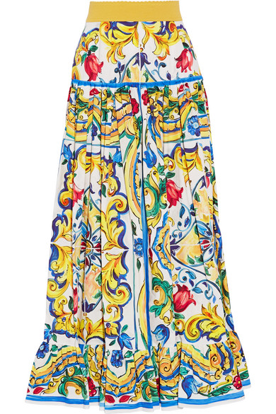 many choices of wholesale outlet discount coupon Pleated printed cotton-poplin maxi skirt
