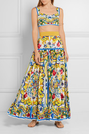 Dolce & Gabbana Pleated printed cotton-poplin maxi skirt