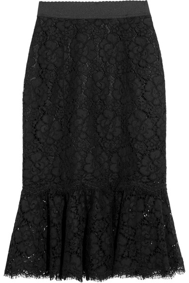 Dolce & Gabbana - Fluted Guipure Lace Skirt - Black