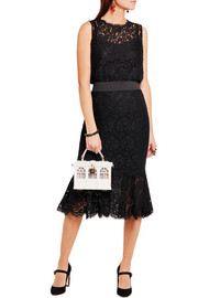 Fluted guipure lace skirt