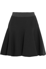 Flared stretch wool-blend mini skirt