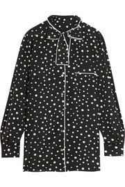 Pussy-bow polka-dot stretch-silk crepe de chine blouse