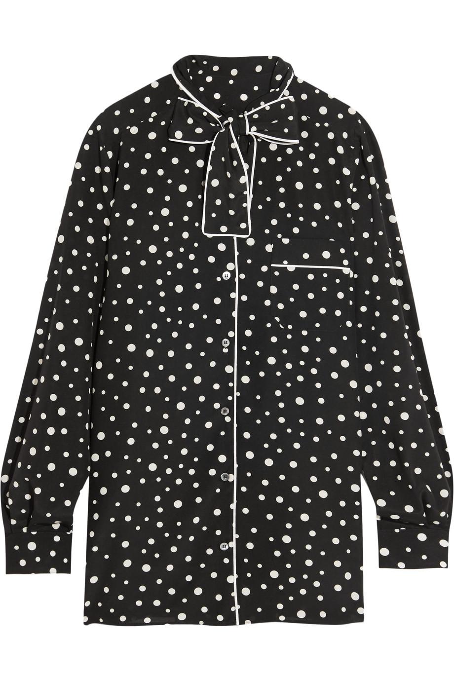 Dolce & Gabbana Pussy-Bow Polka-Dot Stretch-Silk Crepe De Chine Blouse, Black, Women's, Size: 46