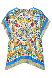Dolce & Gabbana Fringed printed silk-blend twill top