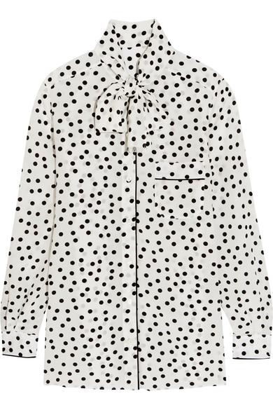 Dolce & Gabbana - Pussy-bow Polka-dot Silk Crepe De Chine Blouse - White