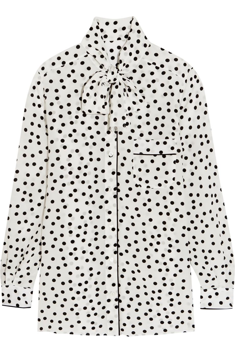 Dolce & Gabbana Pussy-Bow Polka-Dot Silk Crepe De Chine Blouse, White, Women's, Size: 48