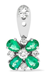 18-karat white gold, emerald and diamond earring