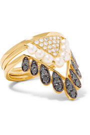 Set of three 18-karat gold, diamond and pearl rings