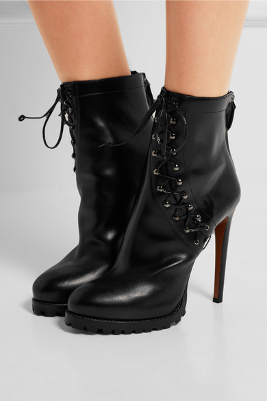 Ala 239 A Lace Up Leather Platform Ankle Boots Net A