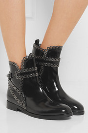 Alaïa Eyelet-embellished glossed-leather Chelsea boots