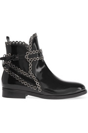 Eyelet-embellished glossed-leather Chelsea boots