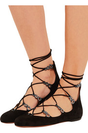 Alaïa Lace-up embellished suede ballet flats