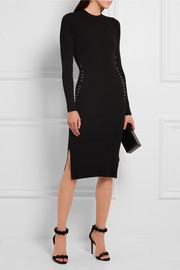 Embellished ribbed stretch-jersey dress