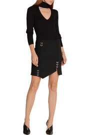 Asymmetric embellished stretch-wool mini skirt