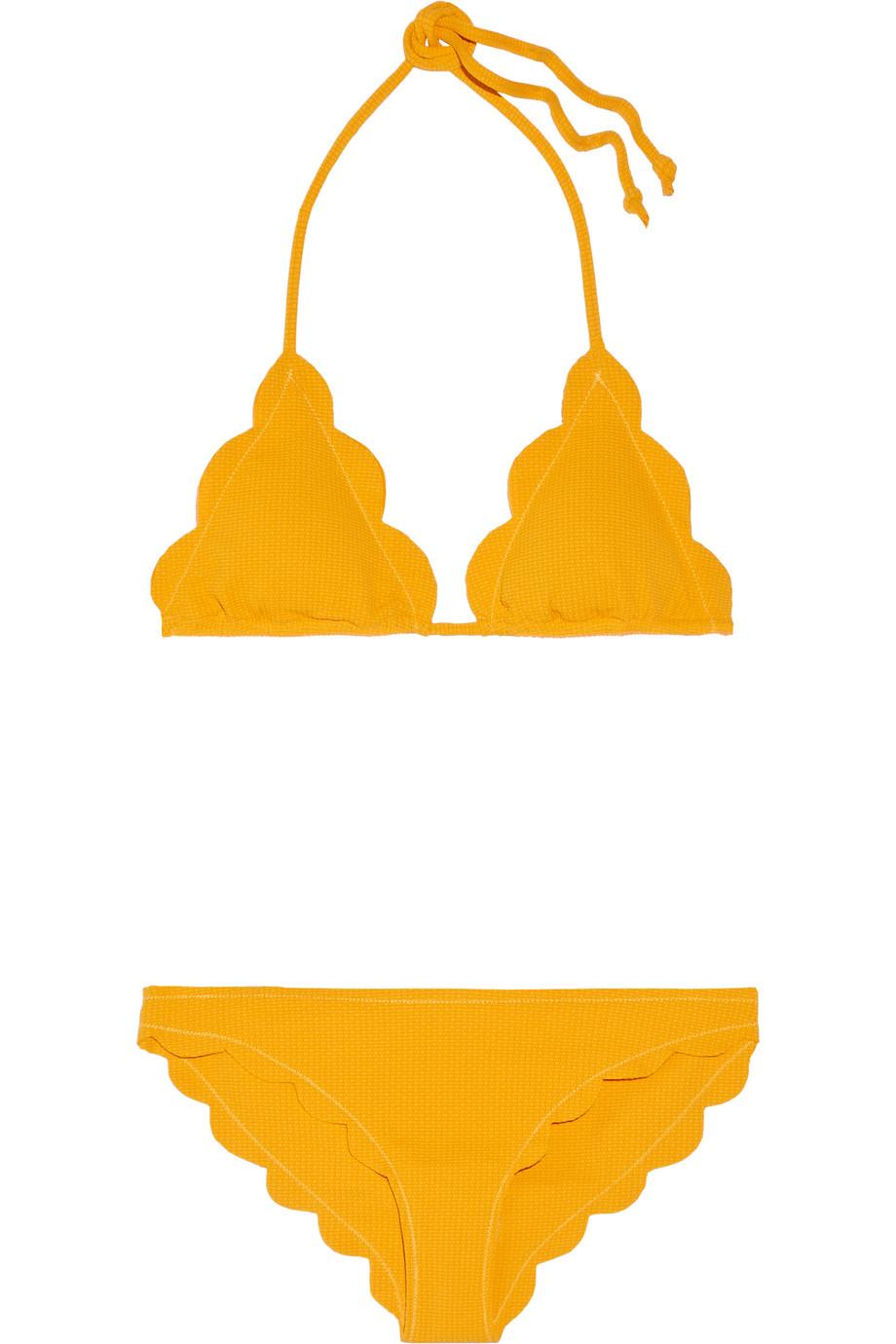 Marysia Broadway Scalloped Triangle Bikini, Saffron, Women's, Size: XS