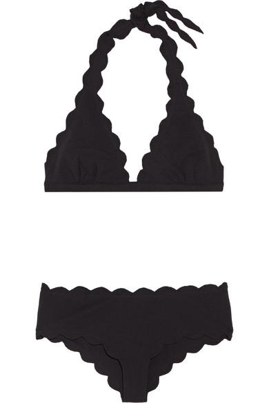 Marysia - Spring Scalloped Triangle Bikini - Black