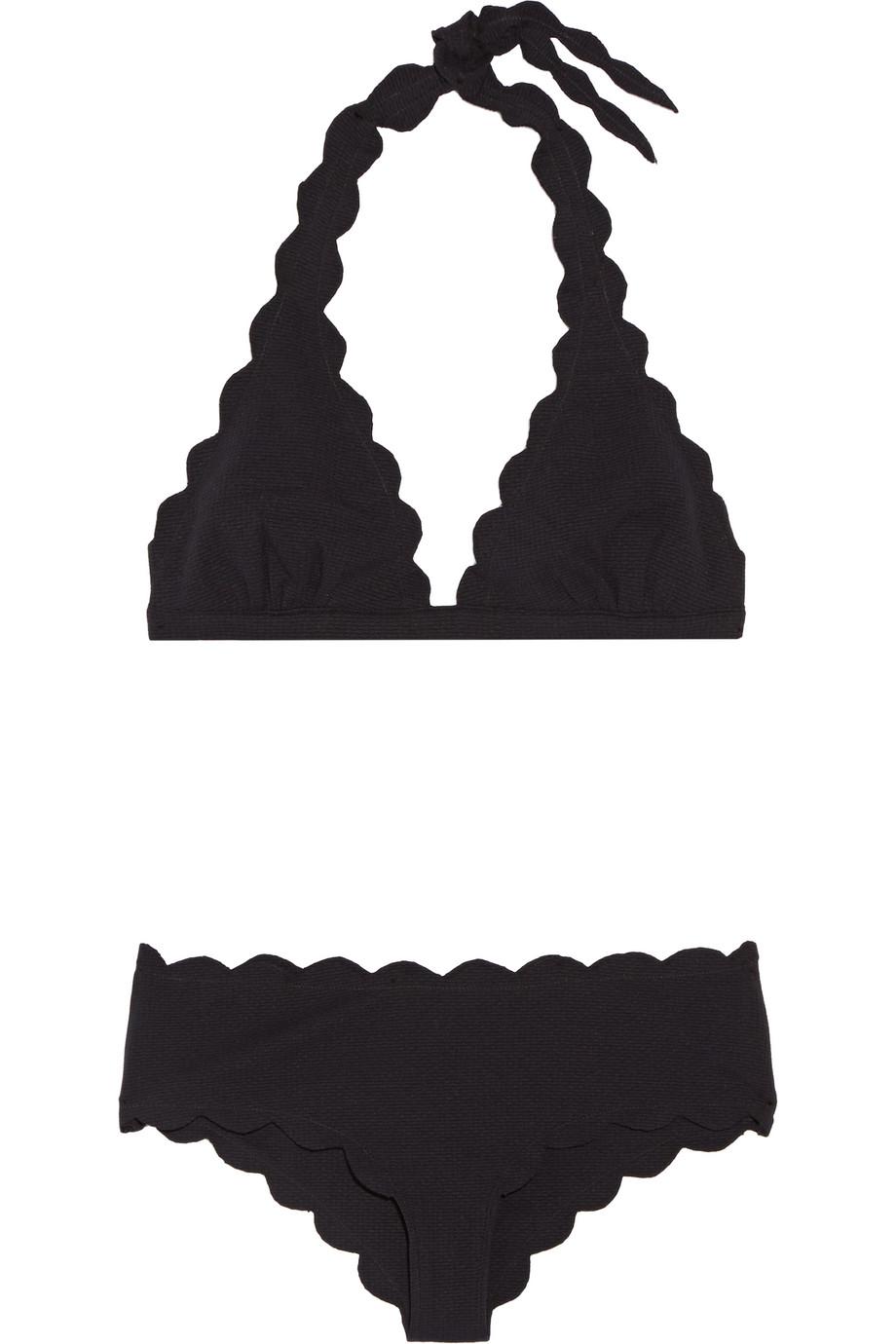 Marysia Spring Scalloped Triangle Bikini, Black, Women's, Size: XS