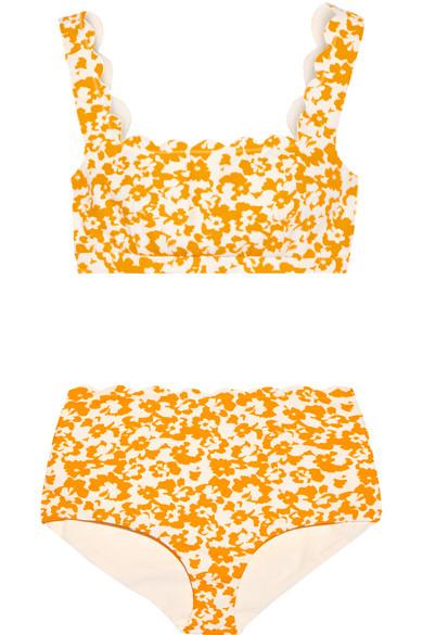 Marysia - Palm Springs Printed Scalloped Bikini - Saffron