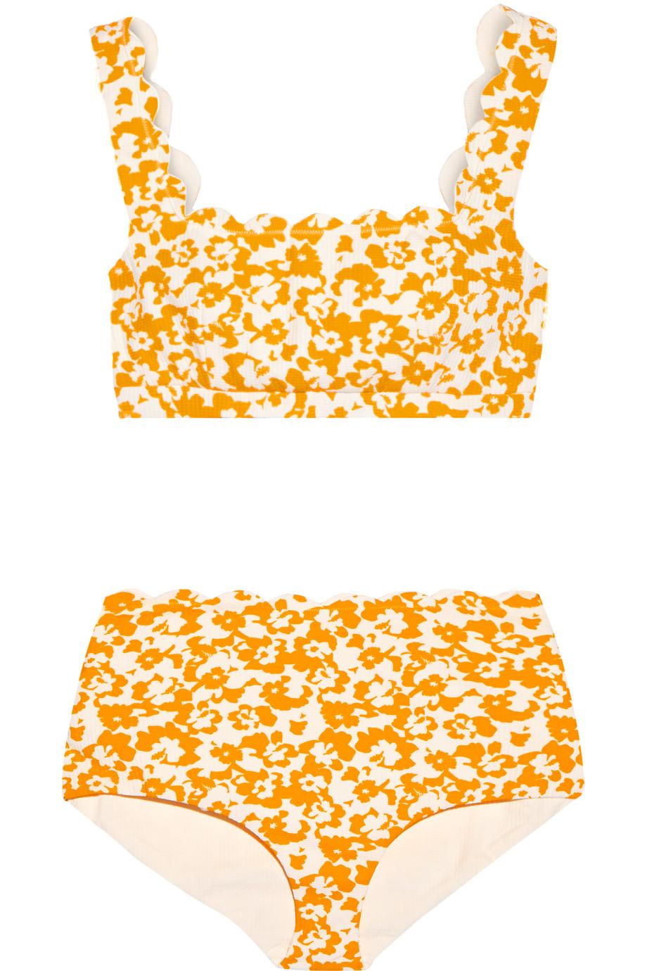Marysia Palm Springs Printed Scalloped Bikini, Saffron, Women's