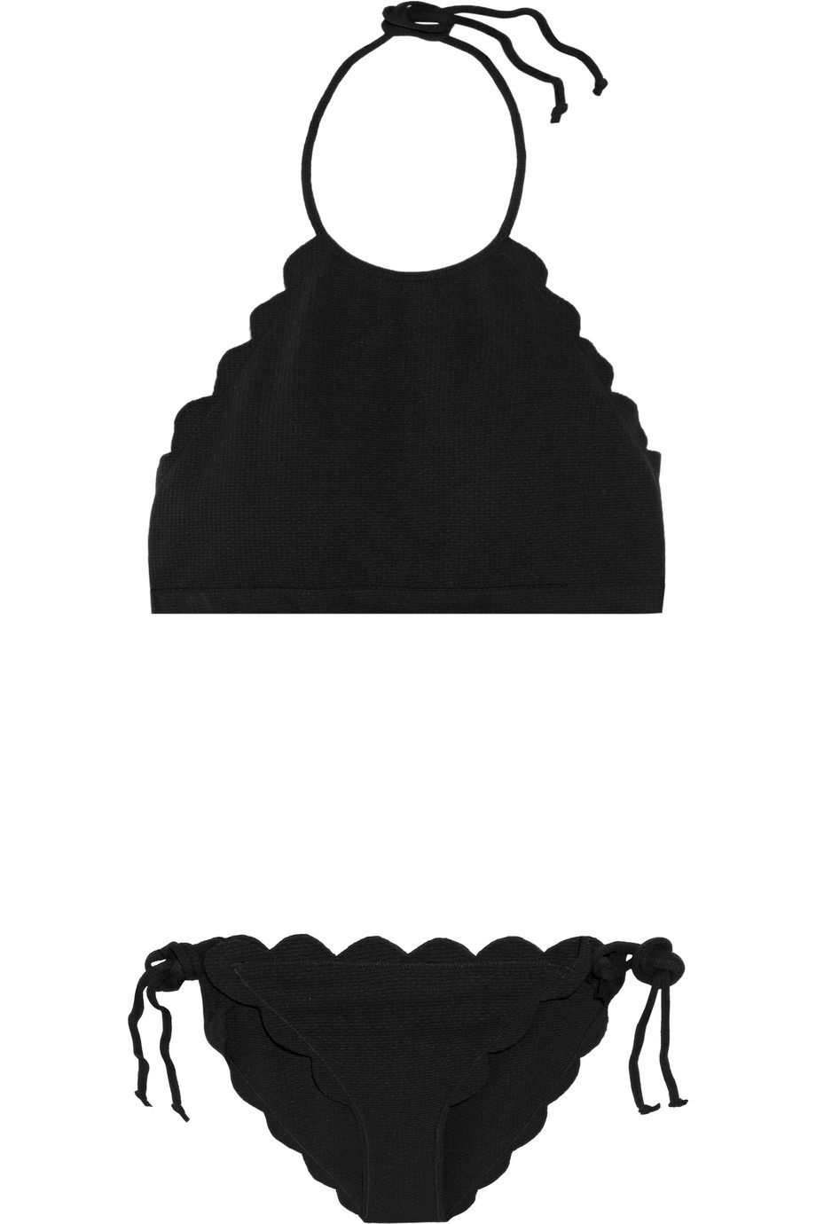 Marysia Mott Scalloped Halterneck Bikini, Black, Women's, Size: XS