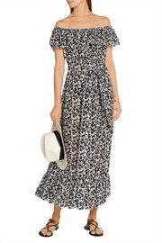 Victoria ruffled floral-print stretch-gauze dress