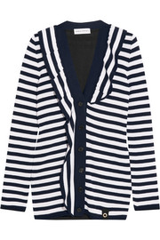 Sonia Rykiel Ruffled striped knitted cardigan