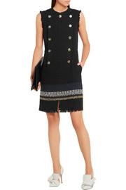 Sonia Rykiel Button-embellished bouclé-tweed mini dress