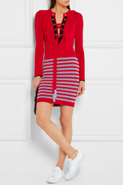 Sonia Rykiel Ruffled striped knitted mini dress