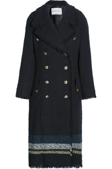 Sonia Rykiel - Striped Bouclé-tweed Coat - Navy