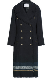Striped bouclé-tweed coat