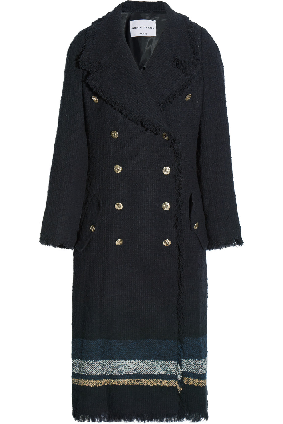 Sonia Rykiel Striped Bouclé-Tweed Coat, Size: 40