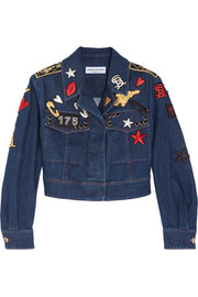 Cropped embroidered stretch-denim jacket