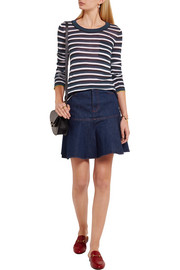 Sonia Rykiel Ruffled stretch-denim mini skirt