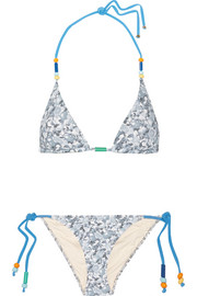Stella McCartney Beaded printed triangle bikini