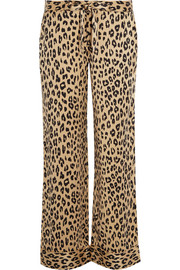 Avery leopard-print washed-silk pajama pants