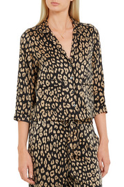 Lake leopard-print washed-silk pajama shirt