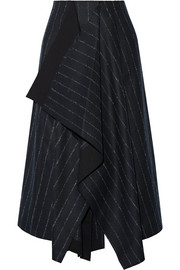 Cédric Charlier Asymmetric pinstriped wool-blend skirt