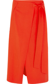 Cédric Charlier Wool-blend wrap midi skirt