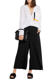 Pleated satin-jersey wide-leg pants