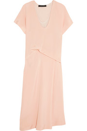 Cédric Charlier Draped silk-satin midi dress