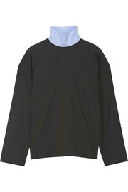 Cédric Charlier Chambray-trimmed cotton-poplin turtleneck top