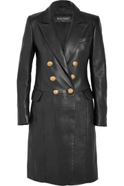 Balmain Double-breasted leather coat