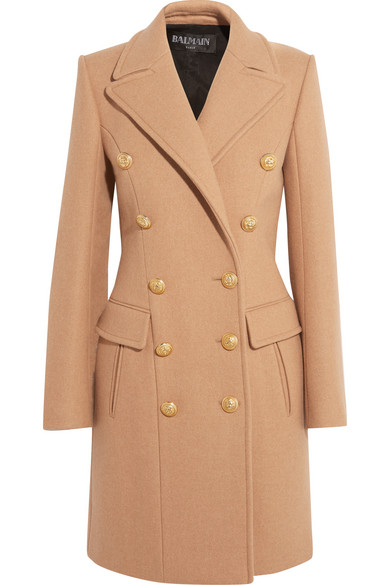 Balmain - Double-breasted Wool And Cashmere-blend Coat - Camel